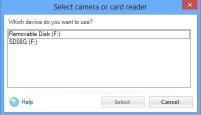 Select Camera or Card Reader Dialog